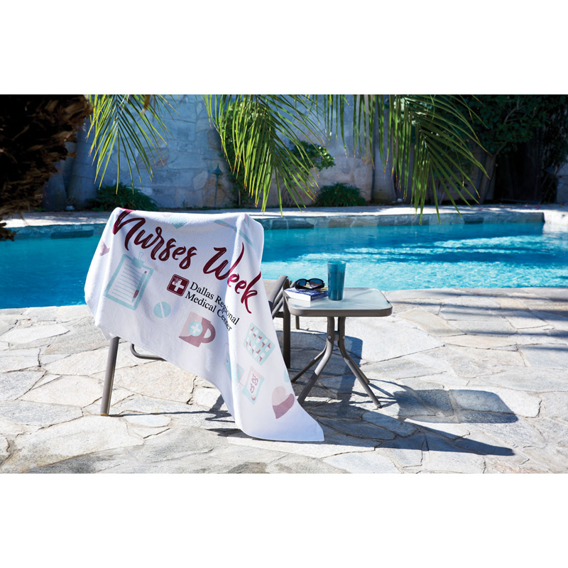 HOT DEAL - Jewel Collection White Beach Towel (Screen Print)