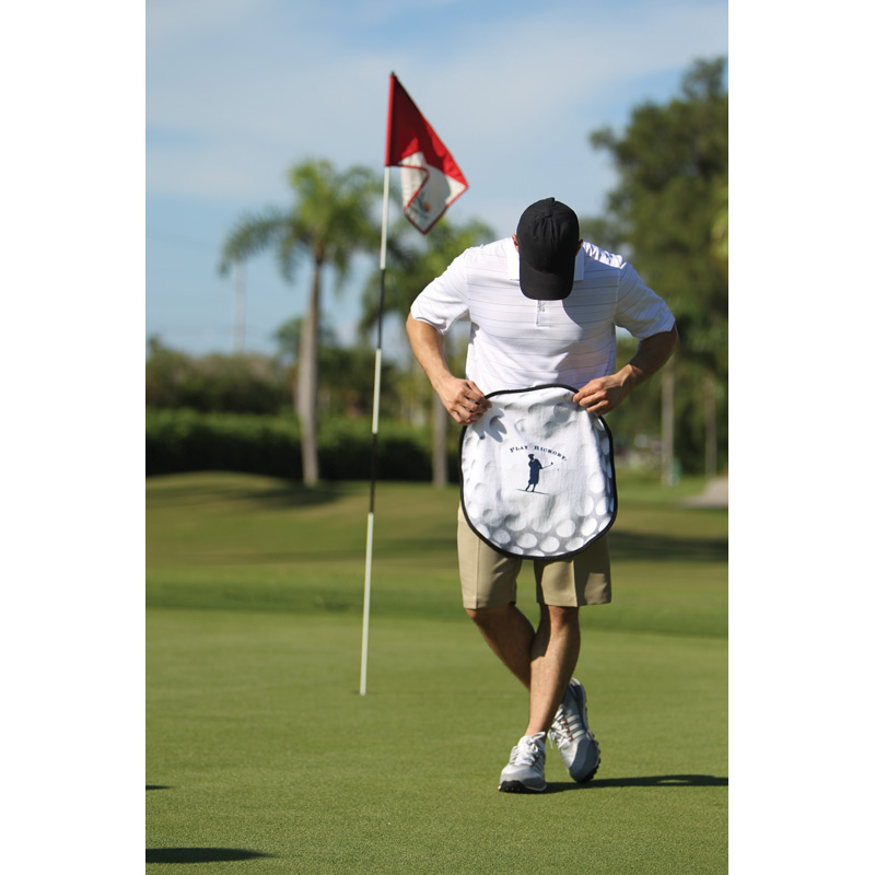 HOT DEAL - Fiber Reactive Golf Ball Shaped Sport Towel (Screen Print)