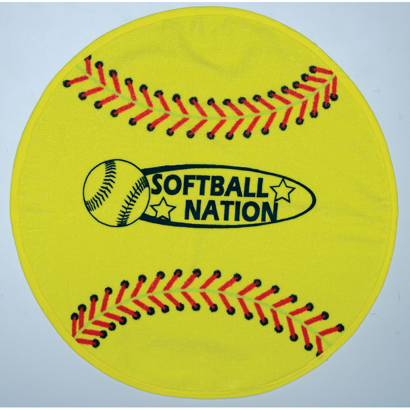 Fiber Reactive Softball Shaped Sport Towel (Screen Print)
