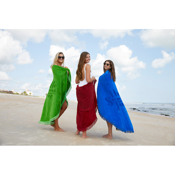 Fringed Round Colored Beach Towel